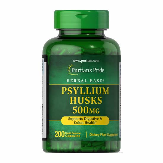 Puritan's Pride Psyllium Husks 500 mg- 200 Cap