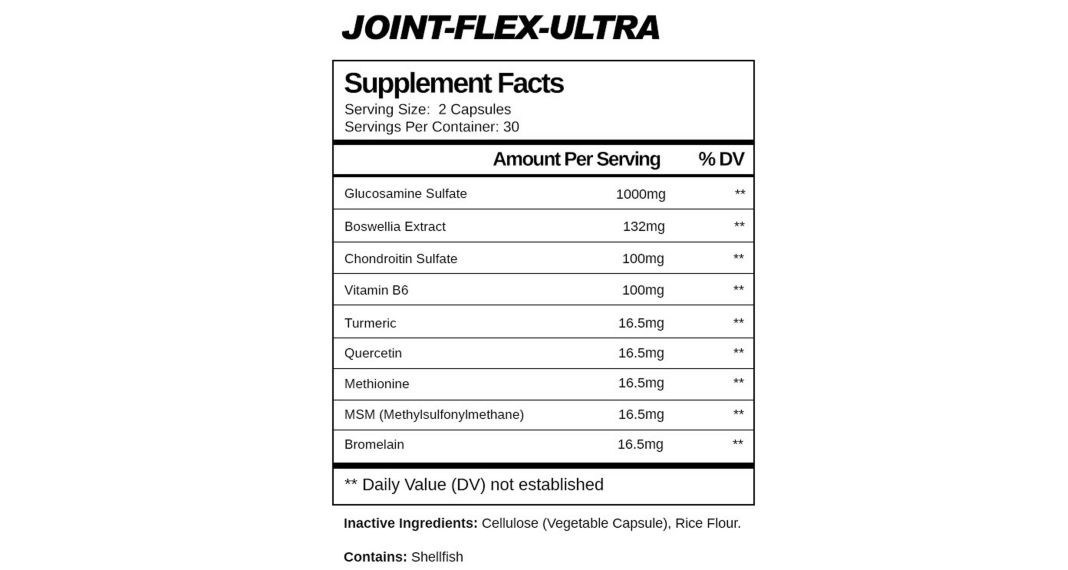 Max Gains Joint Flex Ultra Ingredients