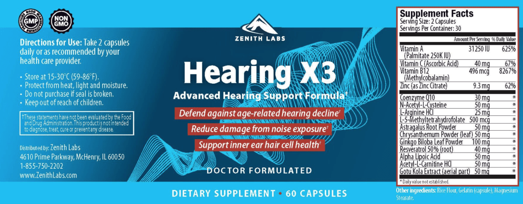Zenith Labs Hearing X3 Supplement Facts