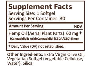Plus CBD Oil Raw 30 Supplement Facts