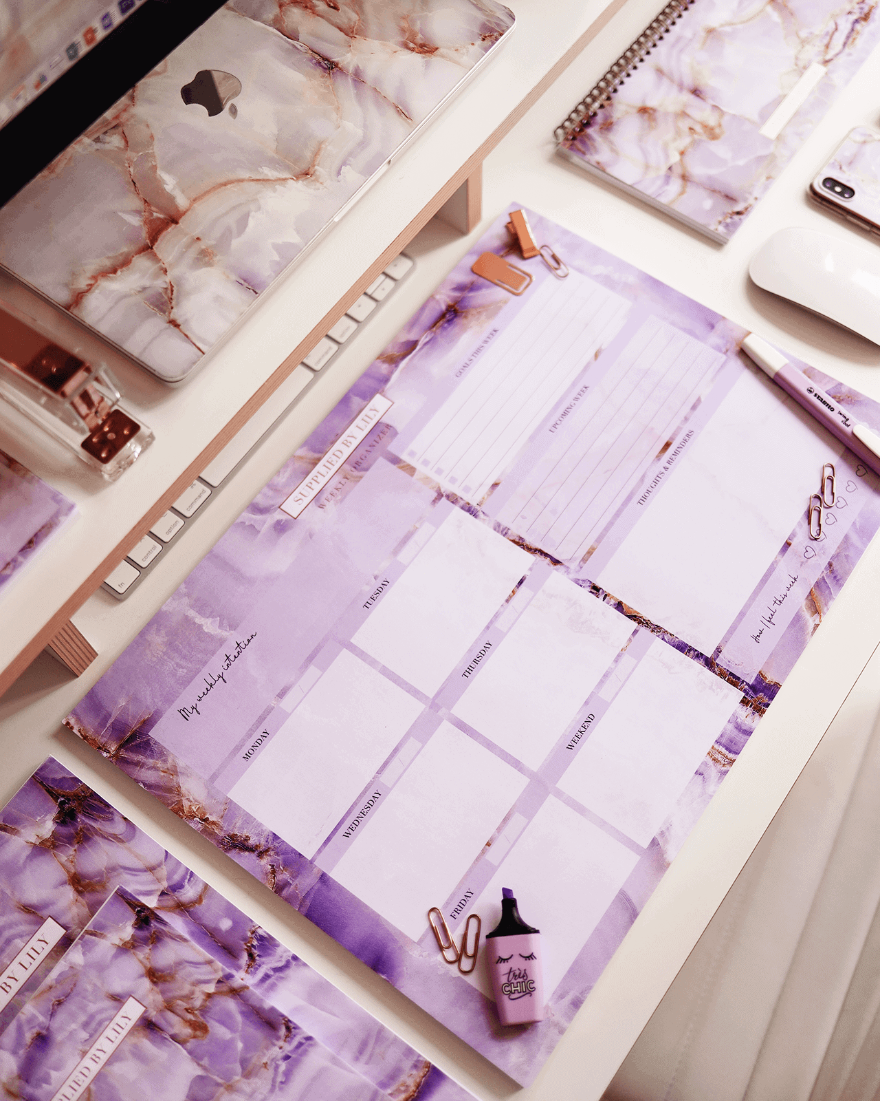 Supplied by Lily Desk Note Pad in Luxurious Amethyst