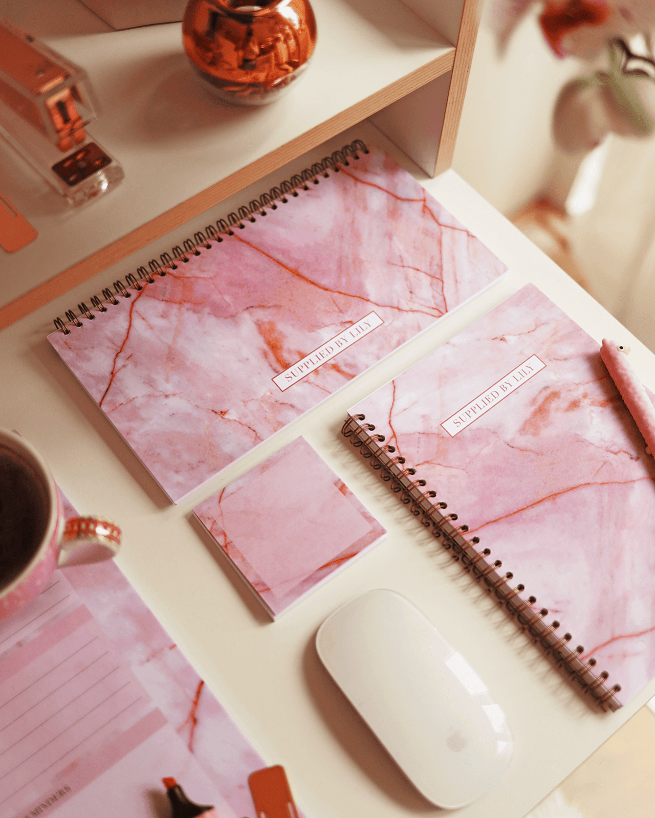 Supplied by Lily Desk Planner in Luxurious Rose Quartz