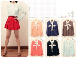#3034 (only salem, brown, peach) Double Pocket Tied Chif shirt - chiffon fit to L - @59