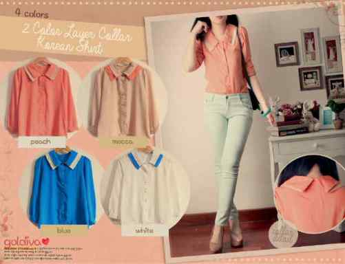 2color layer collar korean shirt - ecer @58rb - seri4pcs 205rb - twiscone fit to L (warna asli biru=navy)
