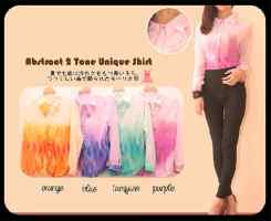 Abstract two tone unique shirt • @62 • cerutti full furing • fit to L • seri4pcs Rp222rb