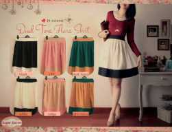 dual tone flare skirt @56 italian silk twiscone seri isi 6 300rb