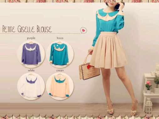 Petite giselle blouse - ecer @60 - bahan twiscone fit to L SERI 4 216 rb