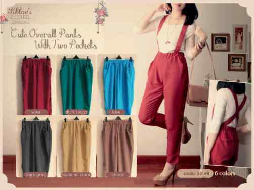 0331B Cute Overall Pants with double Pocket - ecer@62 - Twistcone - Pinggang full karet, tali bisa dilepas