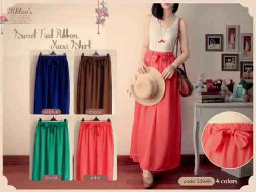 #0339 Sweet Tied Skirt - ecer @64 - seri4pcs Rp232rb - bahan ceruti with furing