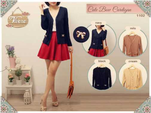 #1102 Cute Bow Cardigan - ecer@62rb - seri4w 224rb - bhn spdx super HQ - ada kancing - fit to L