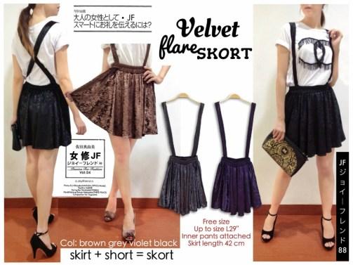 Velvet Flare Skort bahan Beludru fit to sz30 Dalam furing celana pdk Tali bisa X atau lurus - ecer @62rb - sr4wrn 220rb