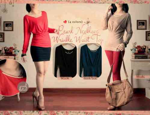 Pearl Necklace Wringkle Top - ecer@60 - seri4w216rb - spandek rayon lembut