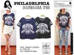 Philadelphia Baseball Tee - bahan Kaos Denim fit to XL - ecer@41 - seri4pc 140rb