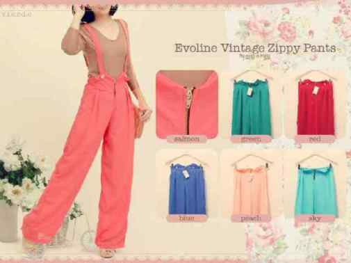 Evoline Vintage Zippy Pants - ecer@71 - seri6w 390rb - sifon full furing