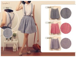 Suspender Plaid Skirt - ecer@64 - seri4w 236rb - cotton - fit to L
