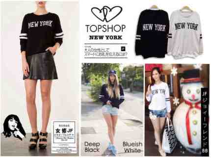 Topshop NEWYORK sweater - ecer@54 - seri4pc 192rb - bhn baby terry - fit to XL