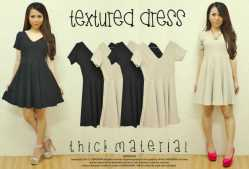 596 Textured Dress - ecer@57 - seri4pcs 204rb - wedges salur - fit to L
