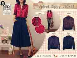 OPEN PO. Ready Senin!!! Velvet Zippy Jacket - ecer@62rb - seri4pcs 224rb - bahan Beludru - fit to L