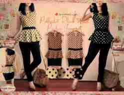 Polka Black Waist Jumpsuit - ecer@74 - seri4w 272rb - twiscone - fit to L kecil