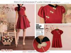 Red Cheongsam - ecer@72rb - seri3pcs 198rb -bhn wedges - fit to L besar
