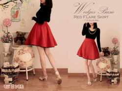 Red Flare Skirt - ecer@61rb - seri3pcs 165rb - bahan wedges - belakang karet -fit to L besar