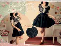 Black Lacey Skirt - ecer@57 - seri4pcs 204rb - lace full furing hitam - pinggang full karet fit to L