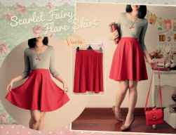 Scarlet Fairy Flare Skirt - ecer@60rb - seri3pcs 162rb - Wedges impor - pinggang full karet - fit to L