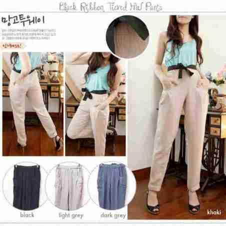 Black Ribbon Pants - ecer@59rb - seri4w 212rb - twistcone - fit to L