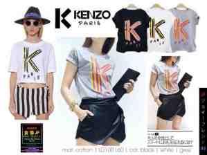 K Kenzo Paris - ecer@40rb - seri3w 115rb -bahan Kaos + Print Beludru - fit to XL (Bukan crop)