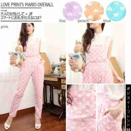 Love Print Overall - ecer@70rb - seri4w 260rb - bahan Twiscone + pocket di dada - fit to L