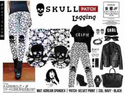 Skull Legging - ecer@42rb - seri4pcs 148rb - bahan Spandex Korea + velvet patch - fit to L gede