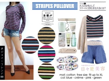 Stripes Pullover - ecer@52rb - seri4w 184rb - bahan Kaos - fit to XL