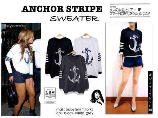 Anchor Stripe Sweater - ecer@57rb - seri3w 158rb - bahan Babyterri - fit to XL