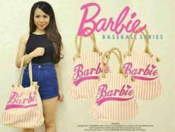 BARBIE baseball - bahan jeans + emboss barbie