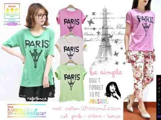 Paris Pastel Tee - ecer@38rb - seri3w 99rb - bahan Kaos - fit to XL