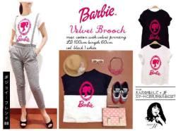 Barbie Velvet Broch - seri3w(2black,1white)75rb - bahan kaos+aplikasi beludru - fit to XL