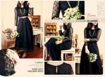 Black Viola Maxi - ecer@84 - seri4pcs 312rb - bhn premium quality lace + full furing tebal + pinggang karet - FREE RIBBON BELT - fit to L