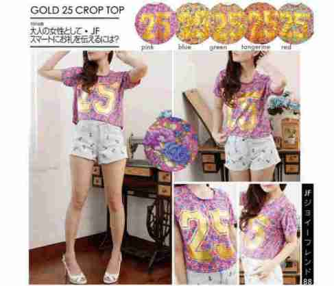 Gold 25 Crop Top - ecer@43rb - seri5w 190rb - bahan Spandex+foil emas - fit to XL