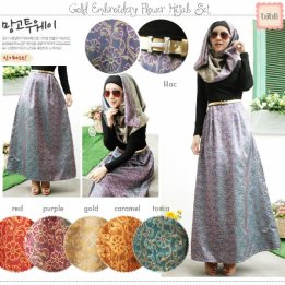 Gold Embroidery Hijab Set - ecer@92rb - seri6w 516rb - spandex+kainsongket - fit to L