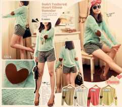 Heart Elbow Sweater - ecer@69 - seri5w 315rb - bahan textured sweater import + leather patch - fit to L