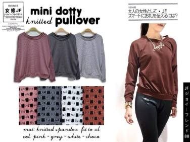 Mini Dotty Pullover - seri2pcs (white+choco) 70rb - bahan knitted spandex dotty(bahan unik & bagus) - fit to XL