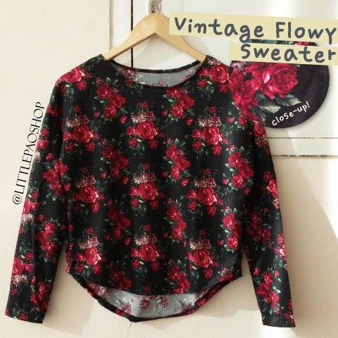 Vintage flowy sweater (black) - ecer@64rb - seri4pcs 232rb - bhn prada knit (tebal,halus,adem) - fit to L