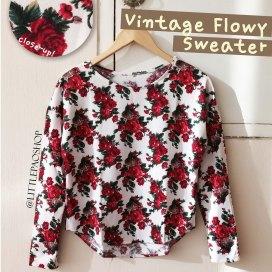 Vintage flowy sweater (white) - ecer@64rb - seri4pcs 232rb - bhn prada knit (tebal,halus,adem) - fit to L