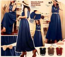 Classic Sweet Maxi Dress - ecer@72 - seri4w 264rb - bahan twistcone HQ - fit to L - FREE BELT PITA
