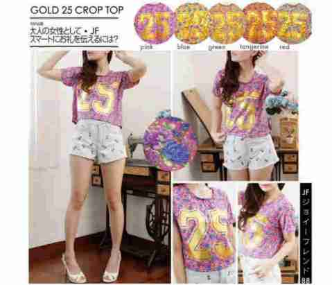 Gold 25 Crop Top - ecer@43rb -bahan Spandex+foil emas - fit to XL