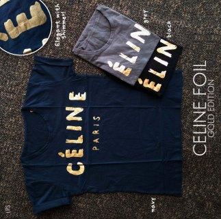 GOLD Celine Foil - ecer@41 - seri3w 108rb - kaos+print foil - fit to L besar