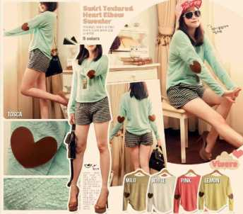 Heart Elbow Sweater - ecer@69 - bahan textured sweater import + leather patch - fit to L