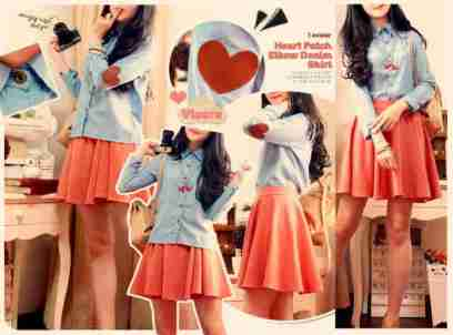 Heart Patch Denim Shirt - ecer@60rb - seri4pcs 220rb - katun denim - fit to L