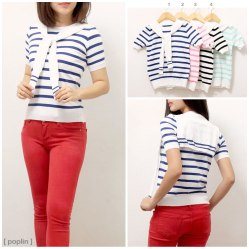 IMPORT! Stripe Sailor Top - ecer@82 - seri4w 304rb -bahan rajut - fit to L