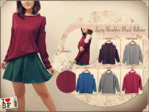 Lacey Shoulder Plaid Sweater - ecer@62 - seri6w 342rb - wedges - fit to L besar